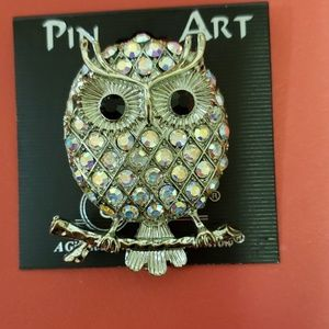 PIN ART RHINESTONE OWL PIN BROOCH SILVER